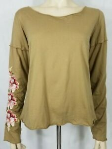 Johnny-Was-beige-tan-embroidered-pink-floral-sleeve-blouse-ladies-Medium