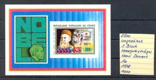 REP DU CONGO 1978 1 BLOCK IMPERFORATED ** MNH VF = HENRI DUNANT = RED CROSS =
