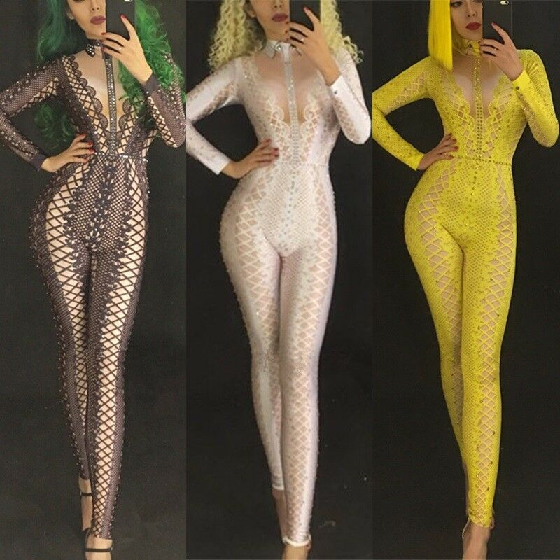 Crystals Jumpsuit Rhinestone Bodysuit Rhinestone Bodysuit Party Sequins Bodysuit