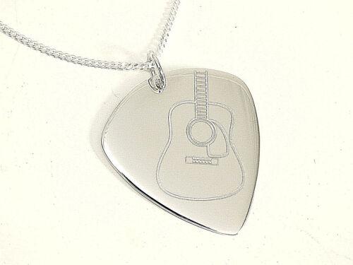 925 Silber Plektrum Kette  45cm x 1,2 mm mit Western Gitarrre Design gelasert