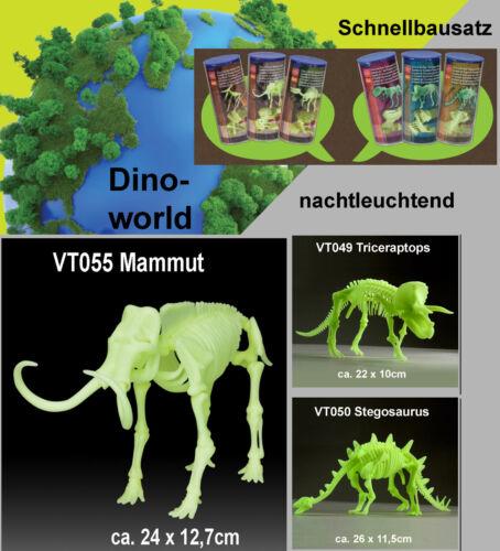 Pflanzenfresser Dinosaurierset nachtleuchtend Mammut Triceraptor Stegosaurus