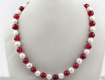 7-8MM Round Freshwater Pearl and jade Necklace 18''