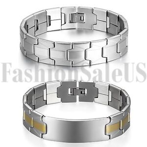 Men-039-s-Wide-Gold-Silver-Tone-Stainless-Steel-Bracelet-Wrist-Link-Chain-Bangle
