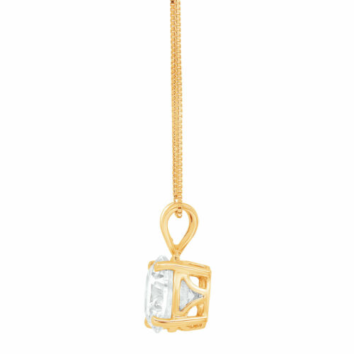 """Details about  /1.0 ct Round Cut Solitaire Clear Stone 18k Yellow Gold Pendant with 16/"""" Chain"""