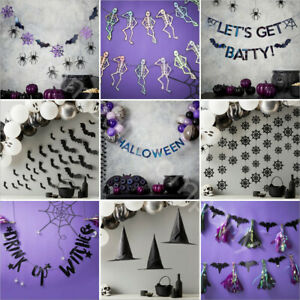 BUNTING Garden HALLOWEEN Hanging Banner Home Decoration Party Paper Foil Garland