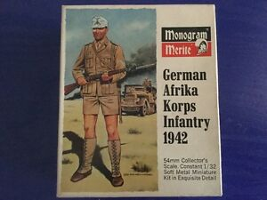 Vintage Monogram 1/32 German Afrika Korps Figure Model Kit (Complete) 1969