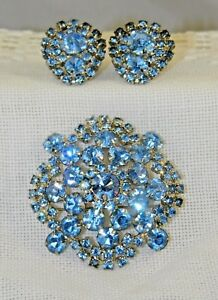 Vintage Costume Jewelry Earrings Rhinestone Clip