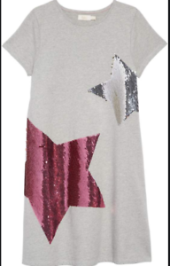 U23 NUOVO RRP £ 19.99 Boden MINI Shimmer FLIP Paillettes Stella T-Shirt Dress