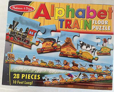 MELISSA & DOUG ALPHABET TRAIN 28 PC FLOOR PUZZLE ABC 10' FT LONG AGES 3+ MINT!