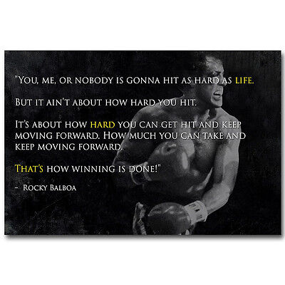 """Rocky Balboa Inspirational Motivational Movie Quote Poster 13x20/"""" 20x30/"""" 24x36/"""""""