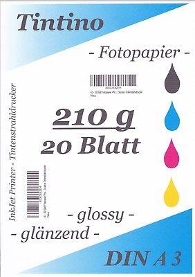 50 Blatt DIN A3 210g//m² Fotopapier HGlossy+wasserfest Hochweiß Tinte Premium