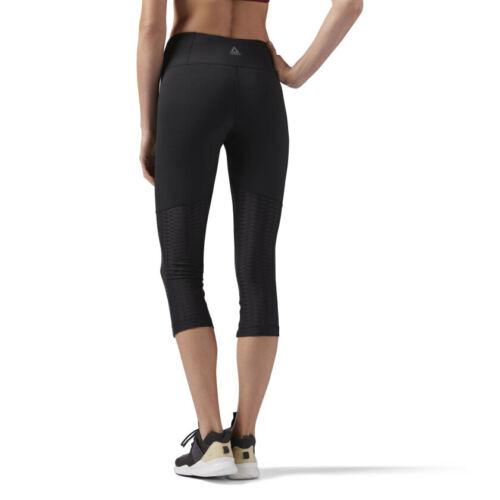 Reebok Womens Mesh Perforated Capri Tight 3//4 Cropped Gym Yoga Sports Leggings