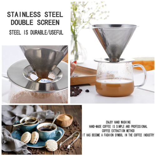 Stainless Steel Coffee Funnel Dripper Pour Over Mesh Reusable Filter Strainer