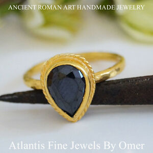 Sterling-Silver-Pear-Onyx-Topaz-Ring-24k-Gold-Vermeil-Handmade-Jewelry-by-Omer