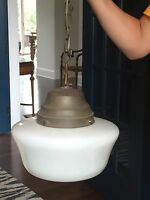 Antique Schoolhouse Glass Globe Vintage Ceiling Light Fixture Pendant Chandelier