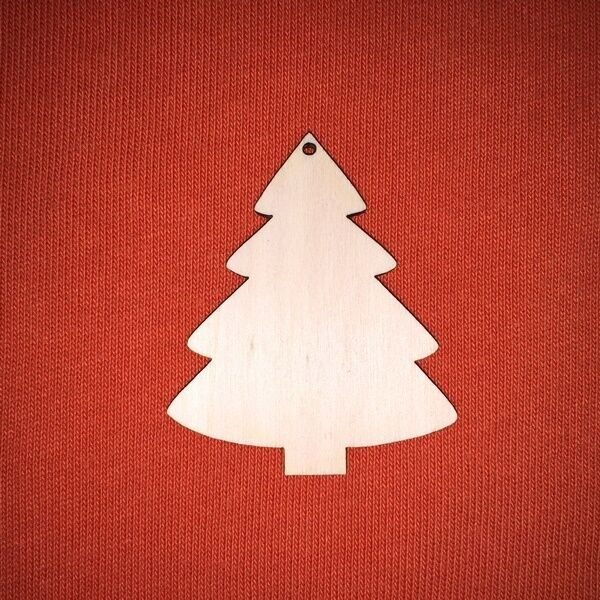 10 pcs 6cm CHRISTMAS TREE  CHRISTMAS WOODEN SHAPE CRAFT DESIGN HANGING TAG