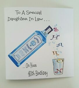 Image Is Loading Personalised Birthday Card 40th Gin Amp Tonic Daughter