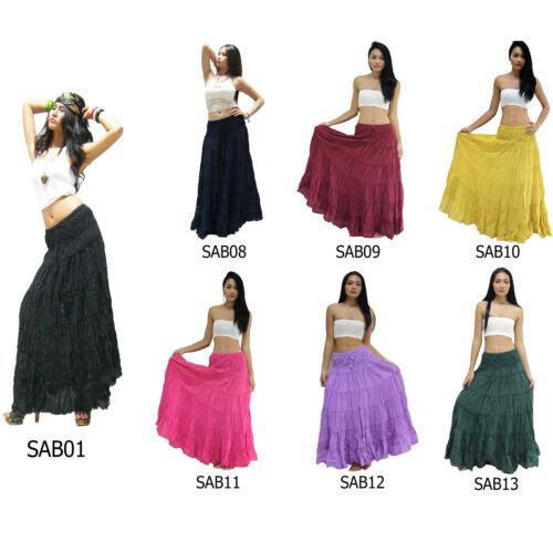 Skirt SAB1-13 Cotton Crochet Long Plain Tiered Broomstick Boho Beach Sun Peasant