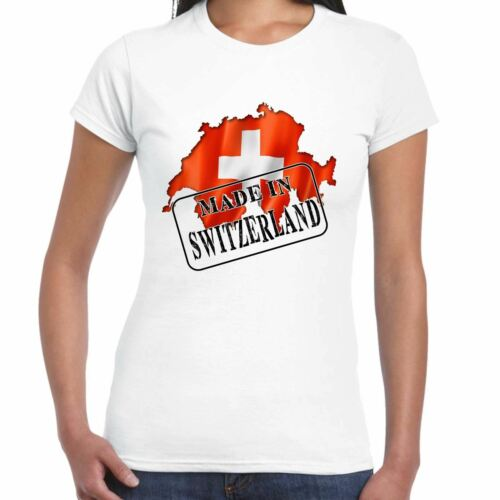 Gift Country Made in Switzerland Flag and map Ladies T Shirt Tee