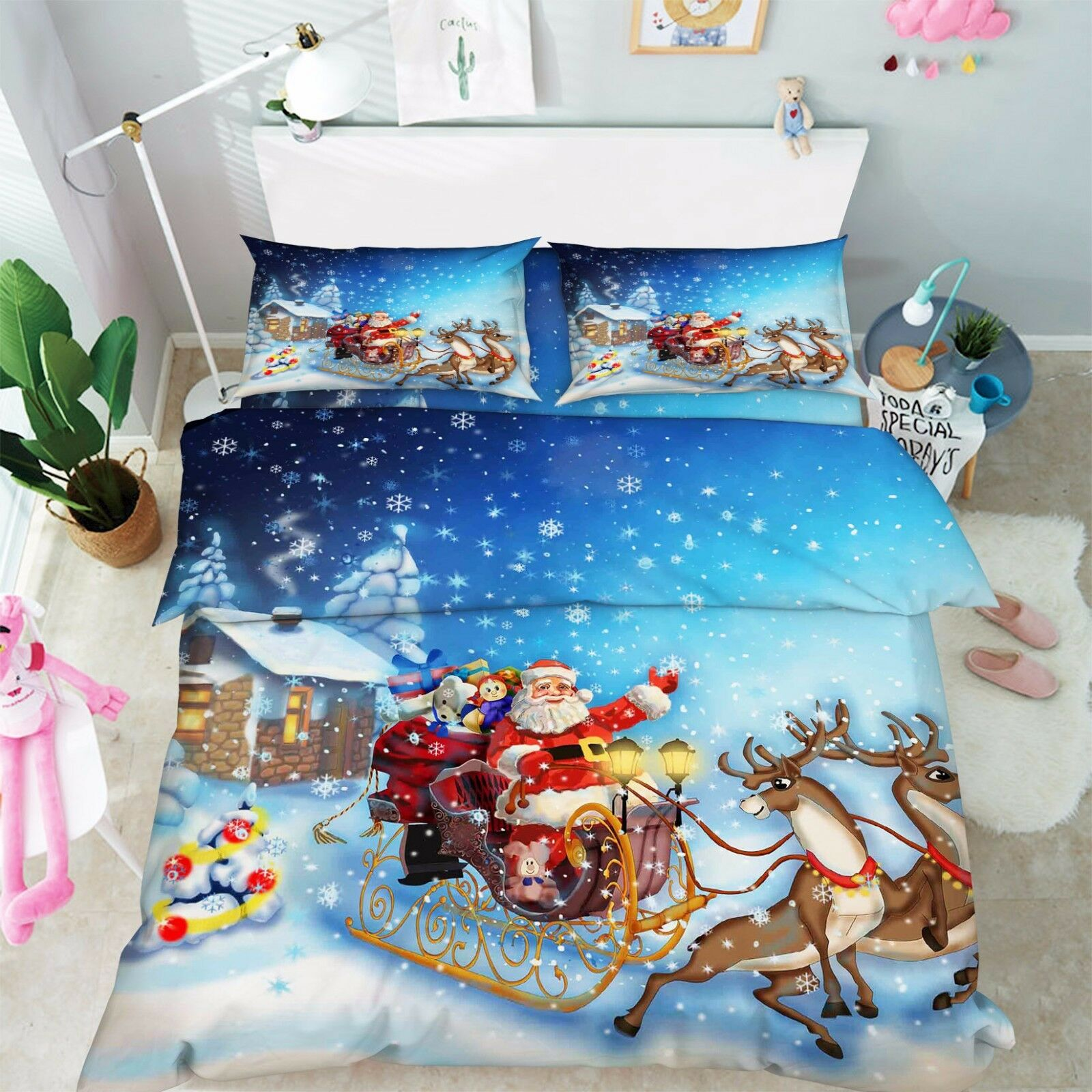 3D Santa Claus 64 Bed Pillowcases Quilt Duvet Cover Set Single Queen King AU