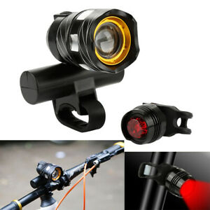 USB-Rechargeable-XML-T6-LED-Bicycle-Light-Bike-Front-Headlight-amp-Taillight-Set