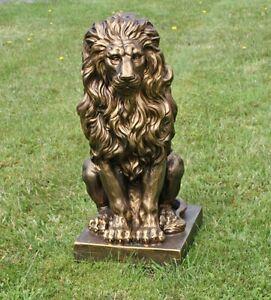 sitzender Löwe Gold 57x27x38cm Statue Skulptur DEKO