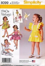 SIMPLICITY SEWING PATTERN 8099 TODDLERS SZ ½-4 RETRO/VINTAGE '40s ROMPER & SKIRT
