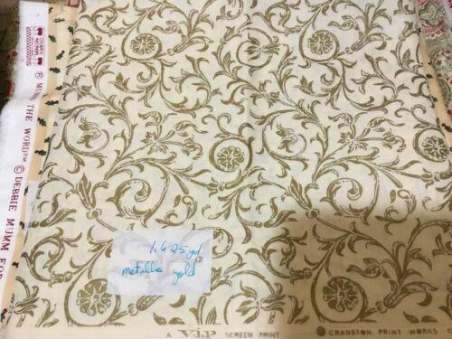 Gold Scrolls on Ivory fabric Debbie Mumm BTHY