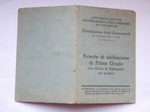 PATENTE-ABILITAZIONE-PRIMO-GRADO-Udine-1947-AUTO-CAR-vecchio-documento