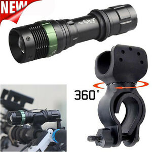 6000lm XML T6 LED Zoomable Tactical Flashlight Bike Bicycle 360°Mount Clip