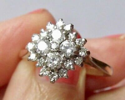 3//4ct Victorian Cluster Style Engagement Wedding Ring 14K Yellow Gold Fn