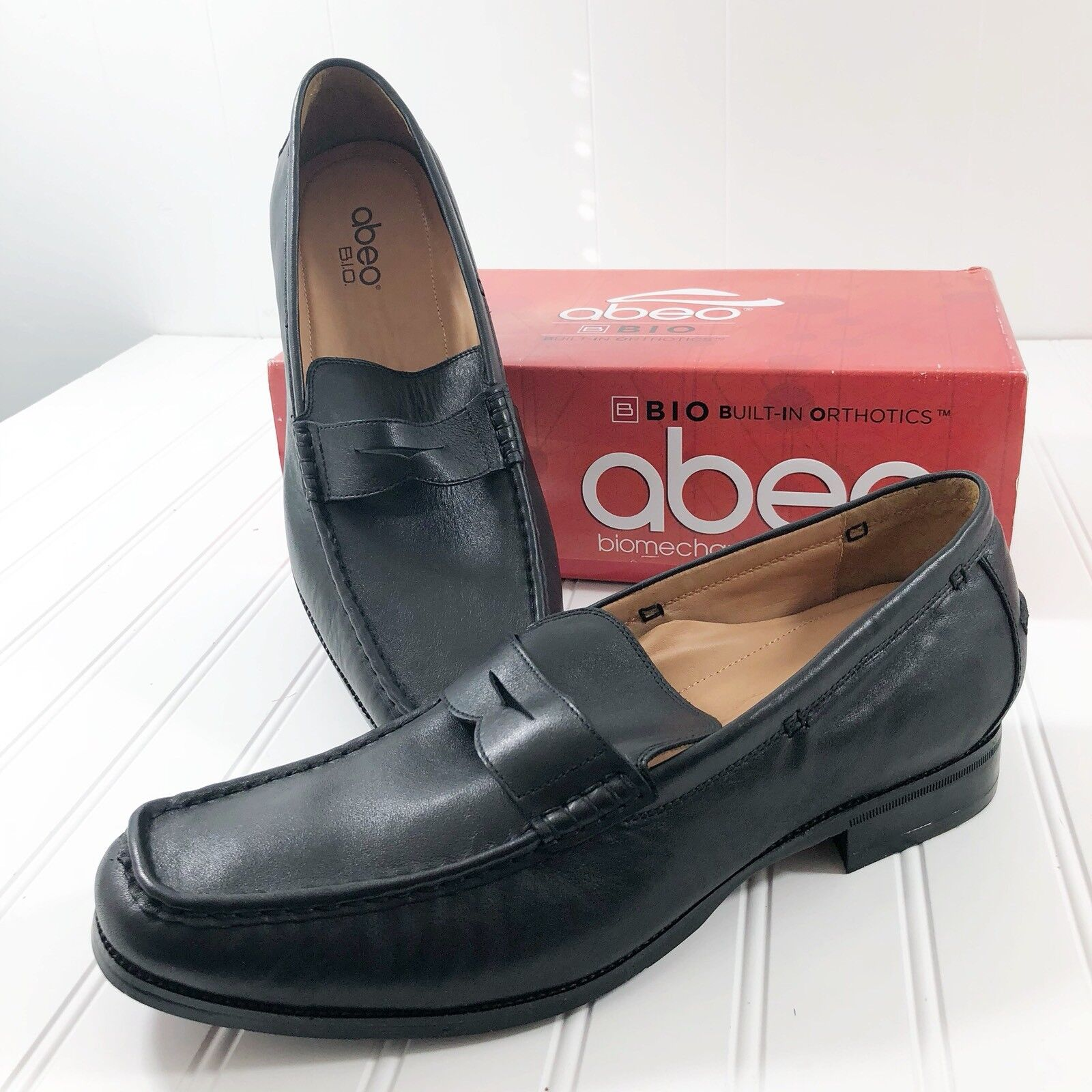 Abeo Mens size 14 Neutral Dress shoes Penny Loafers Black Leather Marshal