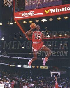 new concept 3af5a f4e06 Image is loading Michael-Jordan-Chicago-Bulls-foul-line-slam-dunk-