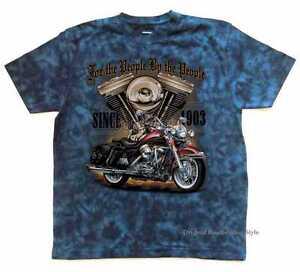 T Shirt Batik blue Vintage HD Biker Chopper&Old Schoolmotiv Modell For the