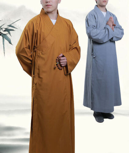 Cotton Shaolin Buddhist Monk Dress Meditation Long Robe Gown Kung Fu Suit Temple
