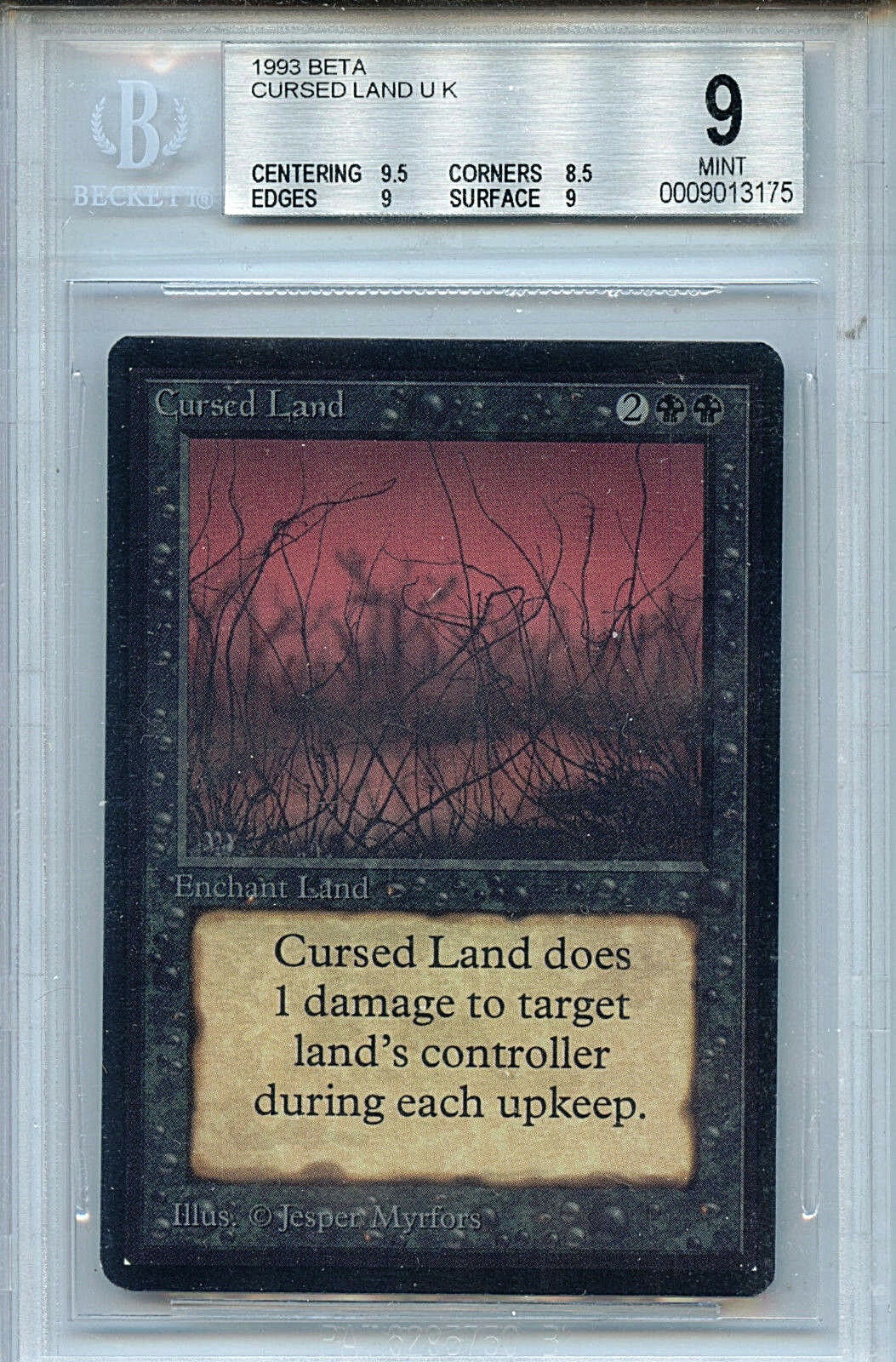 MTG Beta Cursed Land BGS Graded 9.0 Mint Magic The Gathering WOTC Card 3175
