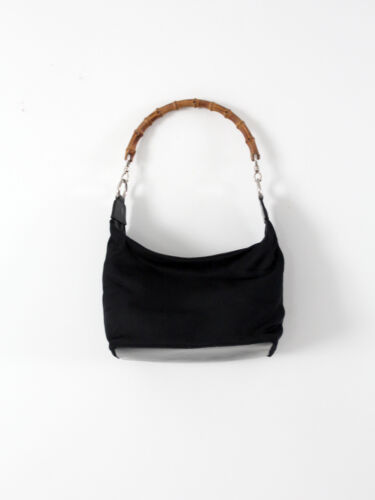Gucci diana bag with bamboo handle, black nylon s… - image 1
