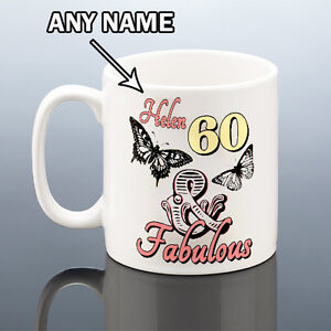 Image Is Loading 60th BIRTHDAY MUG FABULOUS 60 PERSONALISED Cup Birthday