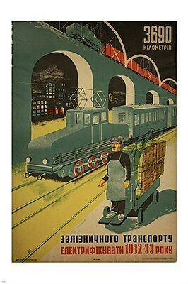 RUSSIAN POLITICAL PROPAGANDA POSTER  train bridge automation PRIZED 24X36