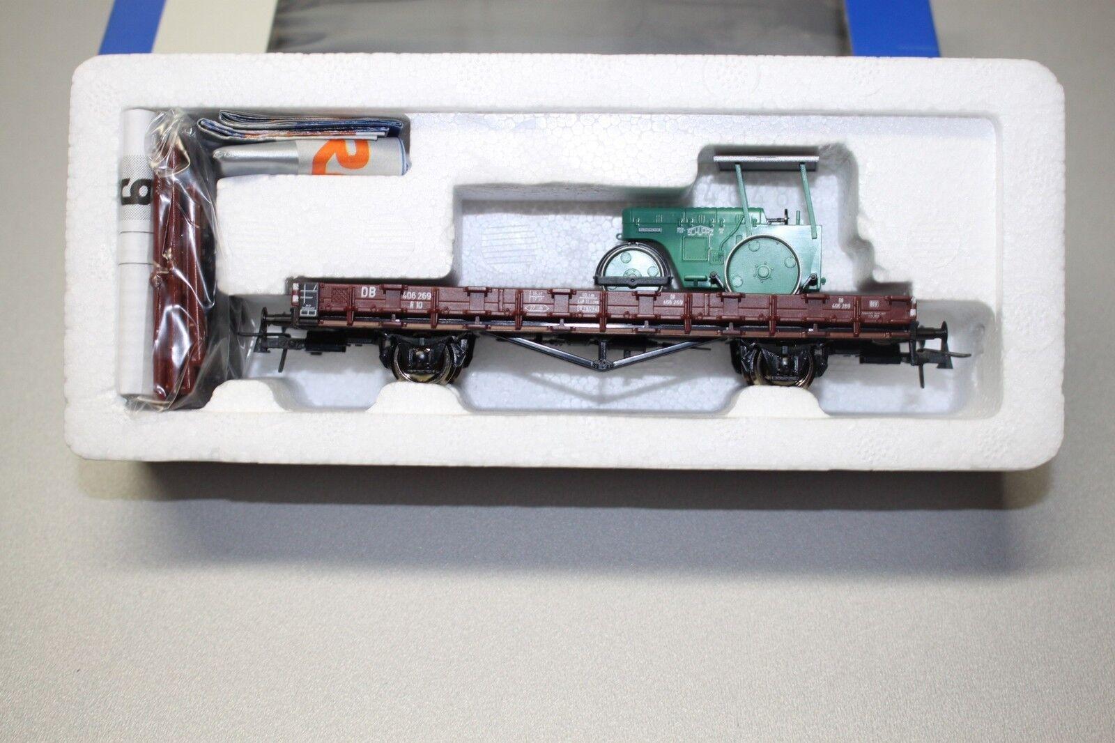 """Roco 47786 2-Achser Rungenwagen R10 mit Strassenwalze """"black Bau"""" Spur H0 OVP"""