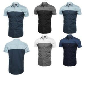 FashionOutfit-Men-039-s-Casual-Lightweigh-Color-Block-Button-Down-Short-Sleeve-Shirt