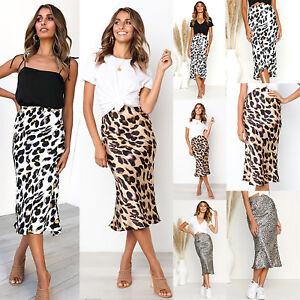AU-Women-039-s-Midi-Skirt-Leopard-Print-High-Waist-Cocktail-Club-Bodycon-Dress-Party