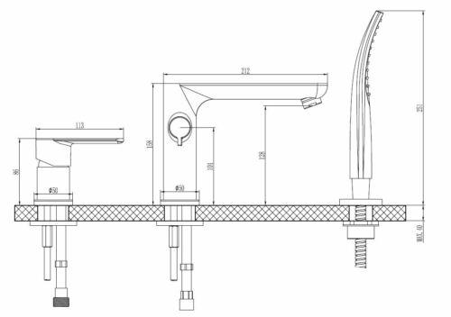 Badewanne Wanne Eckwanne 170 x 100 cm Schürze Ablauf rechts Wannenrandarmatur F