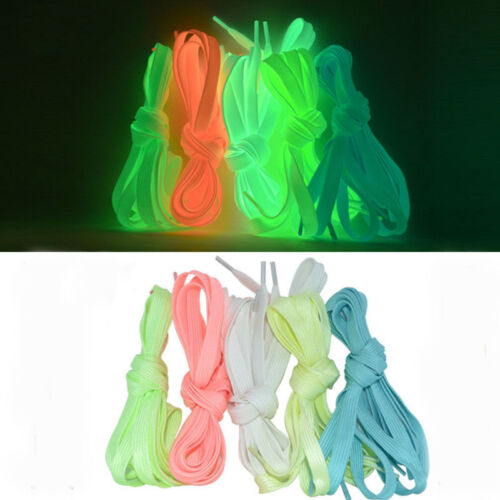 Glow In The Dark Shoelace Luminous Flat Athletic Boots Shoe Laces Strings New