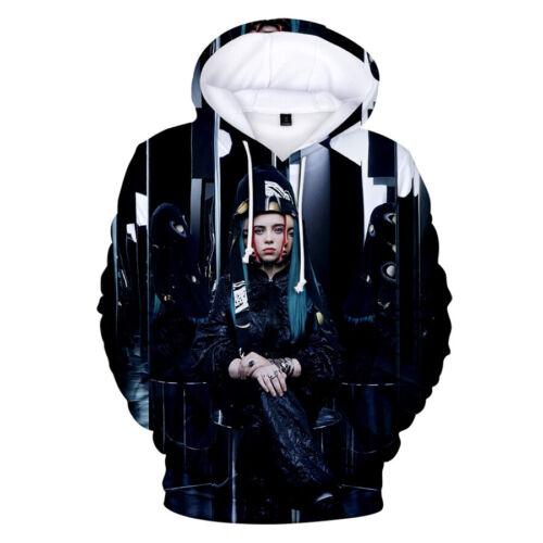 Billie Eilish Hoodie 3D Print Hooded Sweatshirt Cotton Pullover Cartoon Sweater