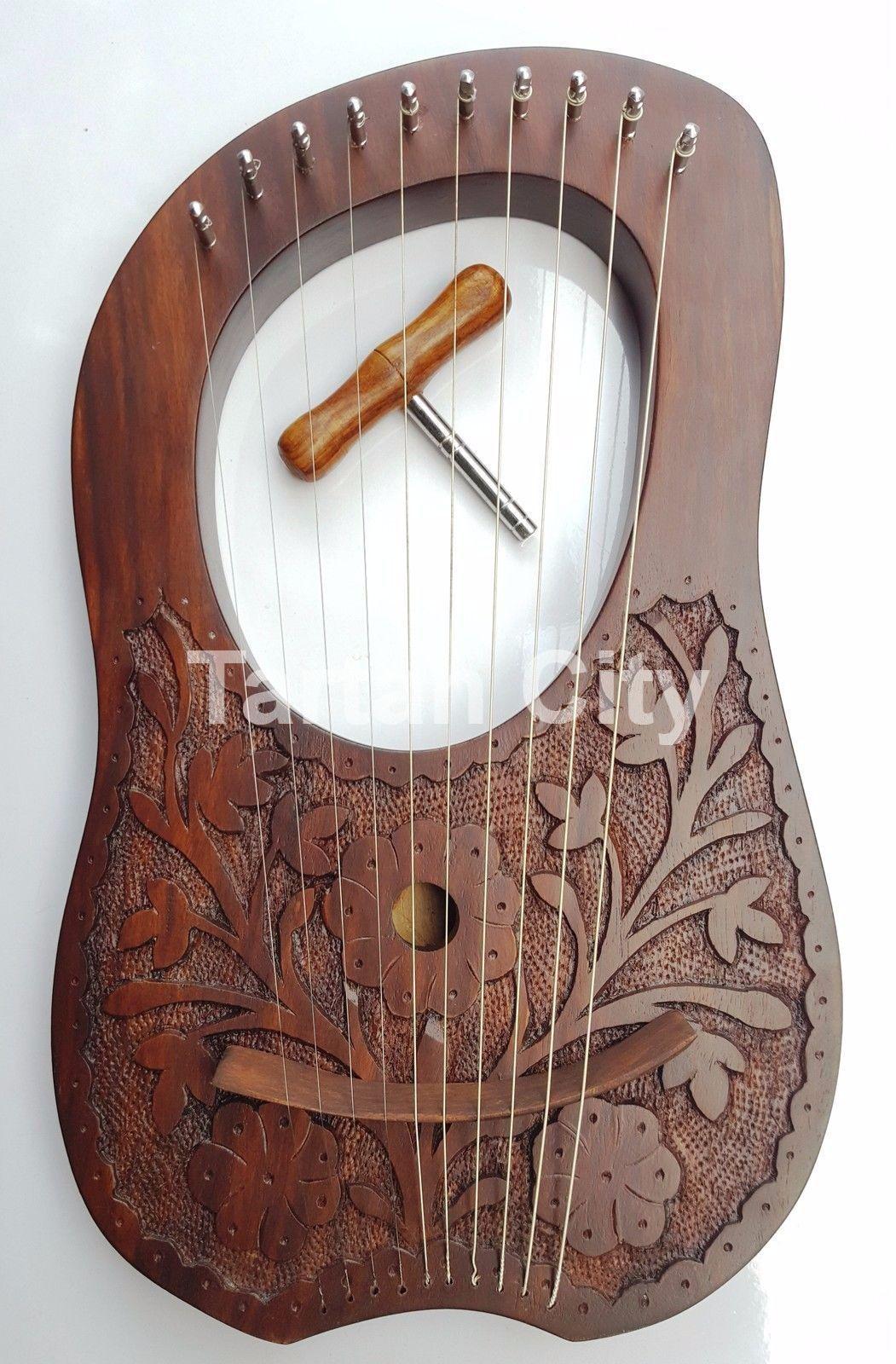Neu Lyra Mundharmonika 10 Metall Saiten Palisanderholz Hand Graviert Natürliche