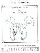 Truly Victorian sewing pattern for 1864 Spanish jacket all sizes TV444