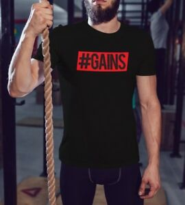 Gains-Bodybuilding-Mens-Workout-Shirt-Men-Fitness-T-Shirt-Gym-Saying-Graphic-Tee