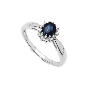 De-Ley-Zafiro-amp-Anillo-Pedida-Diamante-Cluster-Disponible-en-Tallas-H-Con