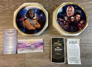 Lot-Of-2-Star-Trek-TNG-Collectible-Plates-Hamilton-Collection-Worf-Borg-Locutus